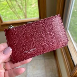 YSL Pebble Grain Leather Zip Wallet